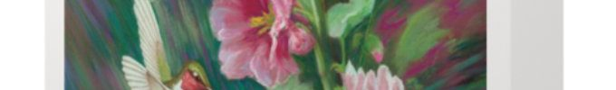 Hollyhocks and Hummingbirds Card